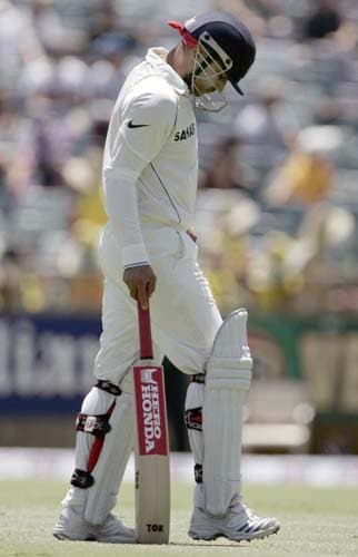 Virender Sehwag walks off after he was caught behind for 29 runs while playing against Australia at the WACA in Perth on Wednesday, January 16, 2008, on the first day of their third Test match. Australia lead the series 2-0.