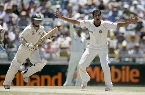 Irfan Pathan, right, appeals for and is given LBW decision on Australia's Chris Rogers, left, at the WACA in Perth on Thursday, January 17, 2008, on the second day of their third Test match. India made 330 in their first innings.