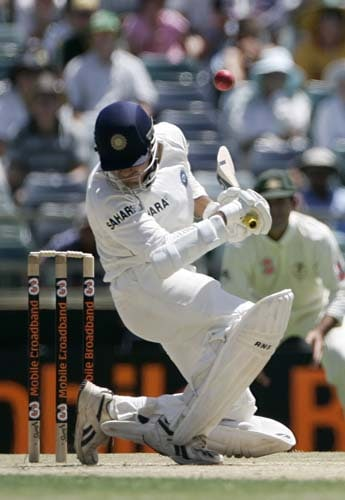 Irfan Pathan avoids a bouncer from Australia's Brett Lee at the WACA in Perth on Thursday, January 17, 2008, on the second day of their third Test match.