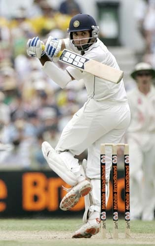 VVS Laxman awkwardly swings at the WACA in Perth on Friday, January 18, 2008, on the third day of their third Test match against Australia. Australia made 212 in reply to India's 330 in their first innings.