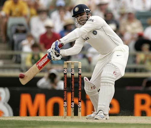 Virender Sehwag cuts the ball for 4 runs off Stuart Clark at the WACA in Perth on Friday, January 18, 2008, on the third day of their third Test match.