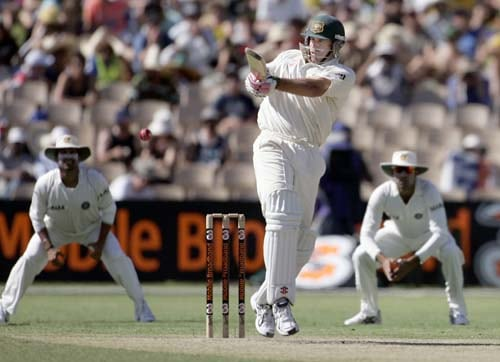 Matthew Hayden pulls a shot against India at the Adelaide Oval on Friday, Jan. 25, 2008, on the second day of their fourth Test. At stumps Australia are 62 for no loss in reply to India's first innings of 526.