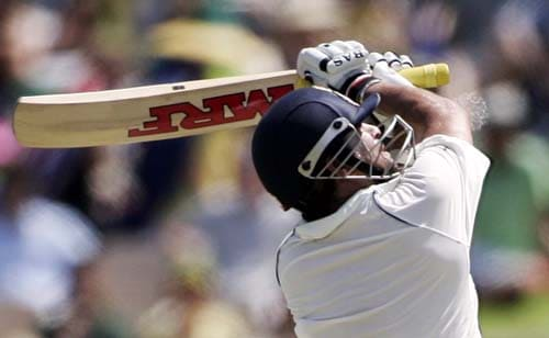 Sachin Tendulkar slashes at a high ball while batting against Australia at the Adelaide Oval on Friday, January 25, 2008, on the second day of their fourth Test.