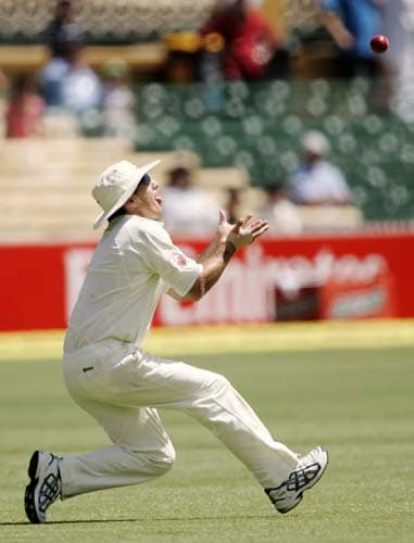 Brad Hogg prepares to catch out Sachin Tendulkar at the Adelaide Oval on Friday, January 25, 2008, on the second day of their fourth Test.