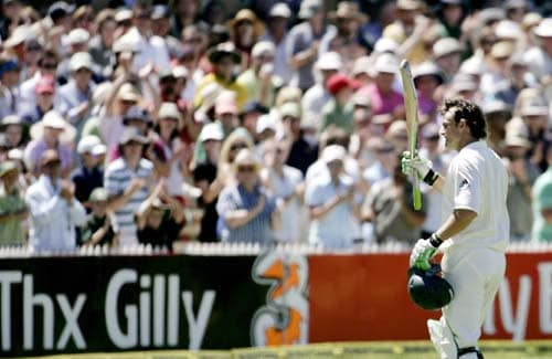Adam Gilchrist runs off the pitch after batting for possibly the last time in test cricket after he was caught out against India at the Adelaide Oval on Sunday, January 27, 2008, on the fourth day of their fourth Test. Gichrist has announced that he will retire from cricket.