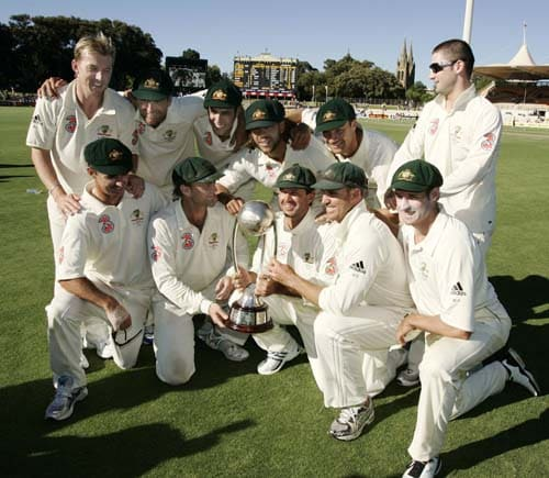 The Australian cricket team pose for a photo with the Border-Gavaskar Trophy at the end of play of their fourth Test against India at the Adelaide Oval on Monday, January 28, 2008. The match was drawn while the series went to Australia 2-1.