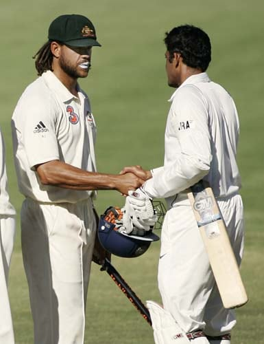India's captain Anil Kumble, right, shakes hands with Australia's Andrew Symonds at the end of their fourth Test match at the Adelaide Oval on Monday, January 28, 2008. The match was drawn while the series went to Australia 2-1.