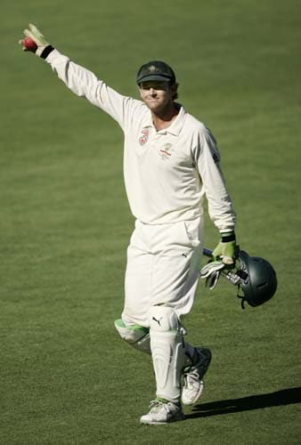 Australia's retiring wicketkeeper Adam Gilchrist waves as he leaves the field at the end of the fourth Test match against India at the Adelaide Oval on Monday, January 28, 2008. The match was drawn while the series went to Australia 2-1.