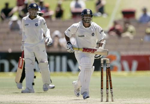 Sachin Tendulkar, right, can't make his ground before he is run out by Australia for 13 runs at the Adelaide Oval on Monday, January 28, 2008, on the last day of their fourth Test. Australia made 563 in reply to India's first innings total of 526.