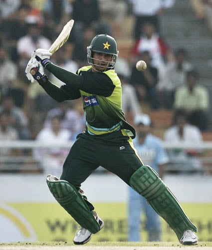 Salman Butt cuts during his innings of 129 against India in Mirpur.