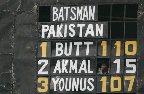 The scoreboard at the Shere Bangla Stadium shows Pakistan's numbers against India.