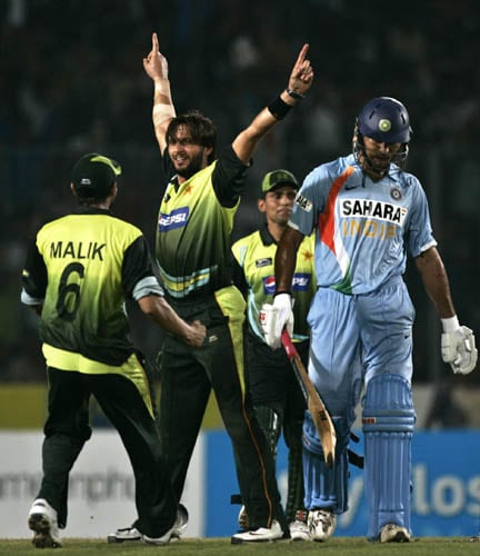 Shahid Afridi celebrates after dismissing Yuvraj Singh in the final in Mirpur.