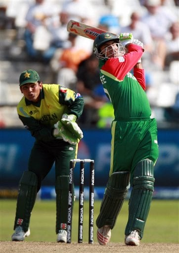 Bangladessh's batsman Mashrafee Mortaza, hits a ball during their their ICC Twenty20 Cricket World Cup match against Pakistan in Cape Town, South Africa, Thursday Sept. 20, 2007.