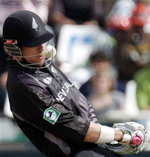 New Zealand's batsman Jacob Oram, evades a bouncer during their semifinal of the Twenty20 World Championship against Pakistan at the Newlands Stadium in Cape Town, South Africa, Saturday, Sept. 22, 2007.
