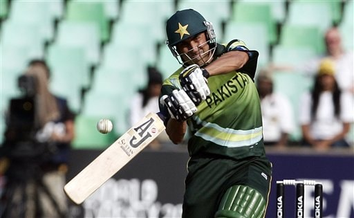 Pakistan's Younis Khan plays a shot against Scotland during their Twenty20 World Championship cricket match in Durban, South Africa, Wednesday Sept. 12, 2007.