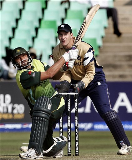 Pakistan's Shahid Afridi, left, plays a shot against Scotland during their Twenty20 World Championship cricket match in Durban, South Africa, Wednesday Sept. 12, 2007.