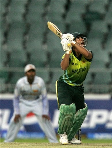Pakistan's batsman Salman Butt watches his shot during their Super Eights of their Twenty20 World Championship cricket match against Sri Lanka at the Wanderers Stadium in Johannesburg, South Africa, Monday, Sept. 17, 2007.