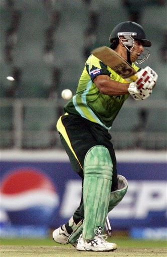 Pakistan's batsman Salman Butt, is bowled by Sri Lanka's bowler Dilhara Fernando, unseen, for 12 runs during their Super Eight's of their Twenty20 World Championship cricket match against Sri Lanka at the Wanderers Stadium in Johannesburg, South Africa, Monday, Sept. 17, 2007.