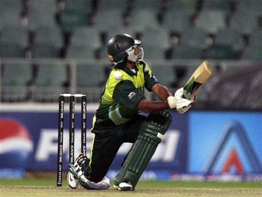 Pakistan's batsman Mohammad Hafeez, misplays a delivery from Sri Lanka's bowler Dilhara Fernando, unseen, during their Super Eights of their Twenty20 World Championship cricket match against Sri Lanka at the Wanderers Stadium in Johannesburg, South Africa, Monday, Sept. 17, 2007.
