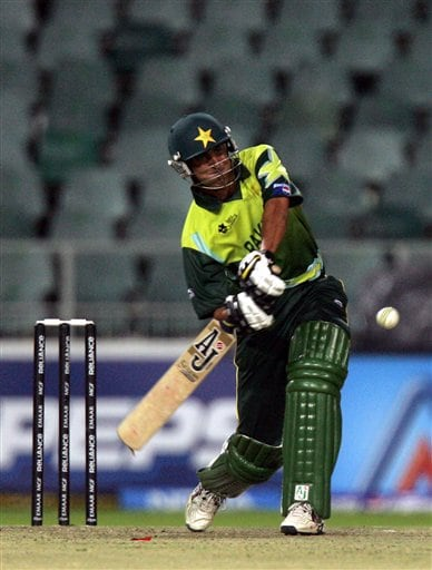 Pakistan's batsman Younis Khan, plays a stroke shot during their Super Eights of their Twenty20 World Championship cricket match against Sri Lanka at the Wanderers Stadium in Johannesburg, South Africa, Monday, Sept. 17, 2007.