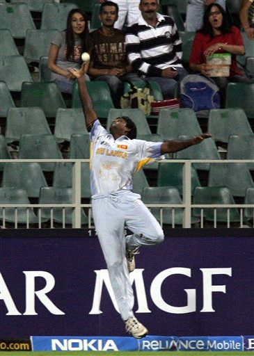 Sri Lanka's fielder Dilhara Fernando, jumps as he attempts a catch during their Super Eight's of their Twenty20 World Championship cricket match against Pakistan at the Wanderers Stadium in Johannesburg, South Africa, Monday, Sept. 17, 2007.