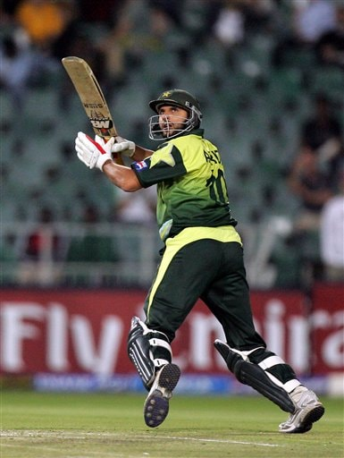 Pakistan's batsman Shahid Afridi, watches his shot during their Super Eight's of their Twenty20 World Championship cricket match against Sri Lanka at the Wanderers Stadium in Johannesburg, South Africa, Monday, Sept. 17, 2007.