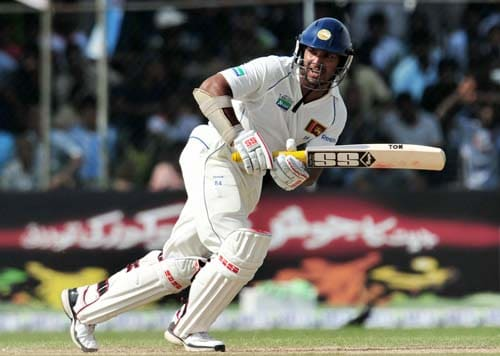 Kumar Sangakkara bats during the first day of the second Test match between Pakistan and Sri Lanka at The P. Saravanamuttu Stadium in Colombo on July 12, 2009. (AFP Photo)