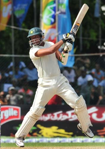 Khurram Manzoor bats during the second day of the second Test match between Pakistan and Sri Lanka at The P. Saravanamuttu Stadium in Colombo. (AFP Photo)