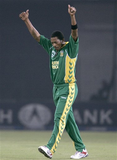 South African pacer Makhaya Ntini celebrates after taking the wicket of Misbah-ul-Haq, unseen, during their fifth one-day international cricket match at Gaddafi Stadium in Lahore, Pakistan on Monday.