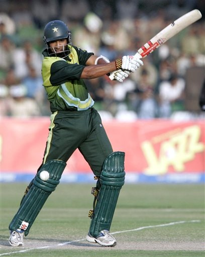 Pakistani batsman Mohammad Yousuf plays a shot during the fifth one-day international cricket match against South Africa at Gaddafi Stadium in Lahore, Pakistan on Monday.