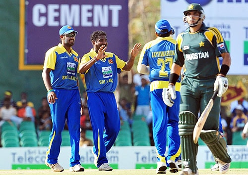Muttiah Muralitharan celebrates with his teammates after dismissing Misbah-ul-Haq during the first One-Day International match between Sri Lanka and Pakistan in Dambulla. (AFP Photo)