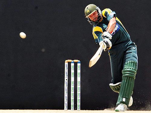 Shahid Afridi bats during the third One-Day International match between Sri Lanka and Pakistan at The Rangiri Dambulla International Cricket stadium in Dambulla. (AFP Photo)