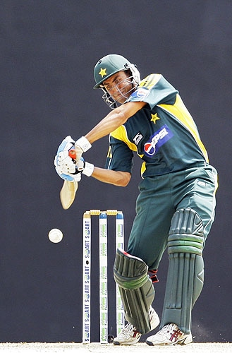 Younus Khan hits a four in the third One-day international match between Sri Lanka and Pakistan in Dambulla. (AP Photo)