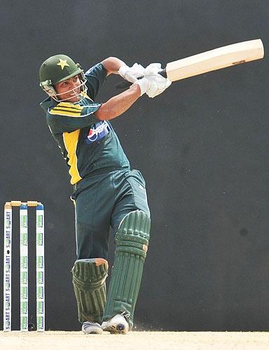 Kamran Akmal plays a shot during the third One-Day International match between Sri Lanka and Pakistan at The Rangiri Dambulla International Cricket stadium in Dambulla. (AFP Photo)