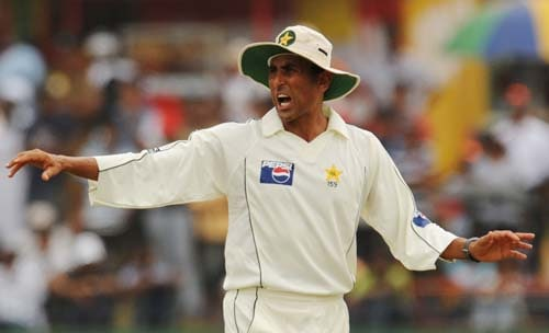 Younus Khan gestures during the first Test match between and Sri Lanka at The Galle International. (AFP Photo)
