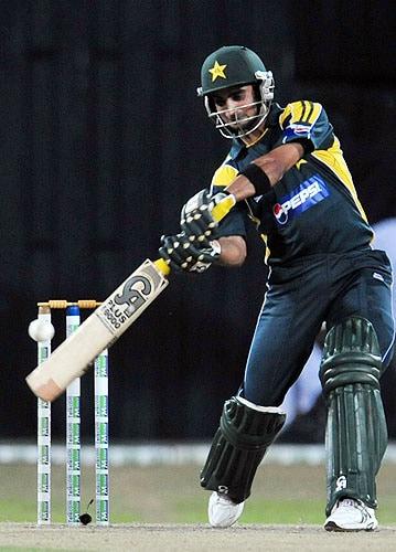 Imran Nazir plays a shot during a Twenty20 match between Sri Lanka and Pakistan in Colombo. (AFP Photo)