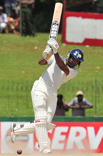 Kumar Sangakkara plays a shot during the fifth day of the third Test match between Sri Lanka and Pakistan at The Sinhalese Sports Club in Colombo. (AFP Photo)