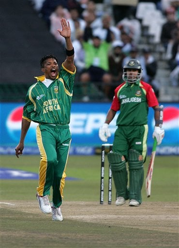 South Africa's Makhaya Ntini celebrates after dismissing Banlgadesh's Nazim Uddin during World Twenty 20 cricket Championships at Newlands in Cape Town, South Africa, Saturday, Sept. 15, 2007.