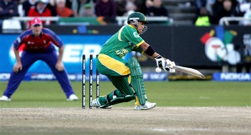 South Africa's JP. Duminy misses a ball from England's James Anderson during World Twenty 20 cricket Championships at Newlands in Cape Town, South Africa, Sunday, Sept. 16, 2007.