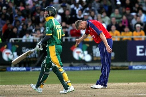 England's Andrew Flintoff, right, shows South Africa's AB De Villiers, left, off the after he was caught behind by England's Matthew Prior, not seen, during World Twenty 20 cricket Championships at Newlands in Cape Town, South Africa, Sunday, Sept. 16, 2007.