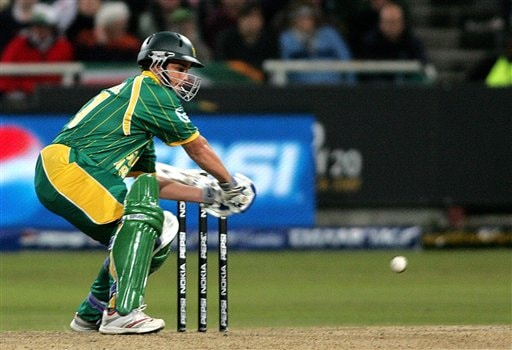 South Africa's Albie Morkel sweeps a ball during World Twenty 20 cricket Championships against England at Newlands in Cape Town, South Africa, Sunday, Sep. 16, 2007.