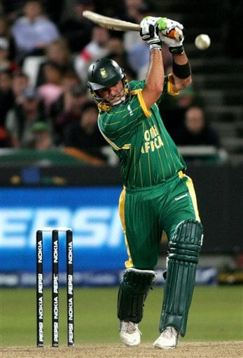 South Africa's Justine kemp plays a stroke during World Twenty 20 cricket Championships against England at Newlands in Cape Town, South Africa, Sunday, Sep. 16, 2007.