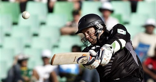 New Zealand's Craig McMillan plays a shot against South Africa during their Twenty20 World Championship Cricket match in Durban, South Africa, Wednesday, Sept. 19, 2007.