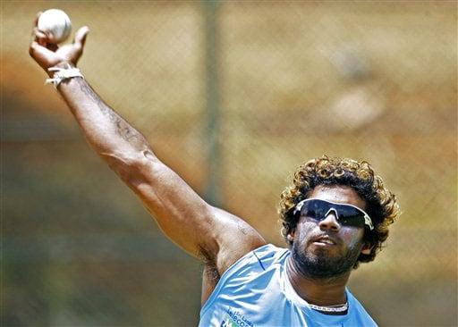 Lasith Malinga throws the ball during a practice session at The Rangiri Dambulla International stadium in Dambulla. (AP Photo)