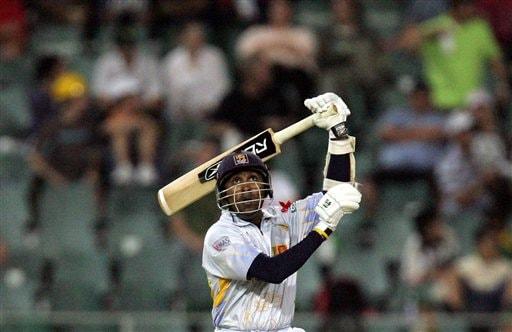Sri Lanka's batsman Mahela Jayawardene watches his shot during their Super Eight Twenty20 World Championship cricket match against Bangladesh at the Wanderers Stadium in Johannesburg, South Africa, Tuesday, Sept. 18, 2007.