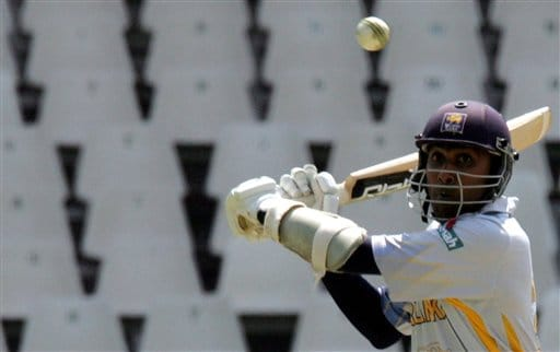 Sri Lanka's captain Mahela Jayawardene takes evasive action against a bouncer during the Twenty20 World Championship cricket against Kenya at the Wanderers Stadium in Johannesburg, South Africa, Friday, Sept. 14, 2007.