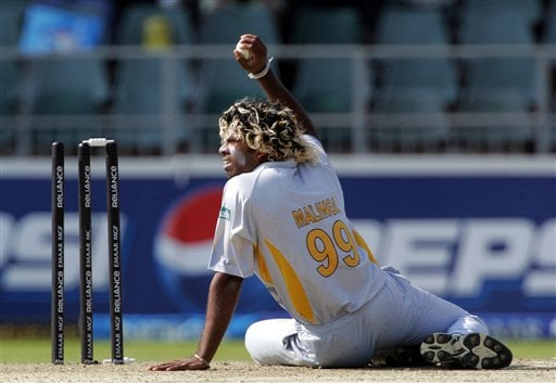 Sri Lanka's bowler Lasith Malinga, runs out New Zealand's batsman Crag McMillan, unseen, for 2 runs during their Twenty20 World Championship cricket against New Zealand at the Wanderers Stadium in Johannesburg, South Africa, Saturday, Sept. 15, 2007