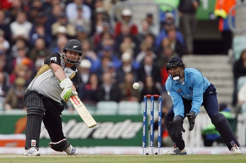 Jesse Ryder of New Zealand bats during their ICC World Twenty20 match against Scotland at The Oval in London. (AFP Photo)