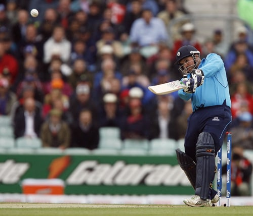 Ryan Watson of Scotland hits the ball during the ICC World Twenty20 match against New Zealand at The Oval in London. (AFP Photo)