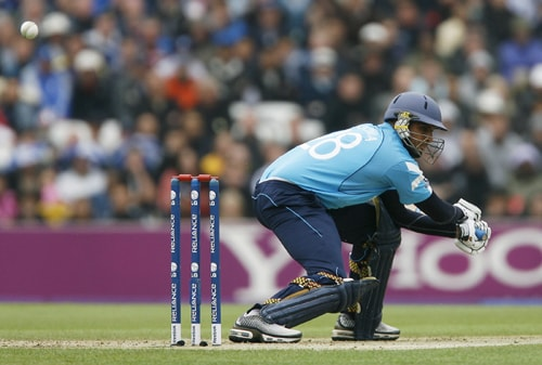 Navdeep Poonia of Scotland hits the ball during their ICC World Twenty20 match against New Zealand at The Oval in London. AFP Photo)